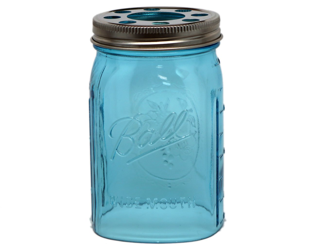 Open Bottom Mason Jar Glass Shade with 1-5/8-Inch Fitter Opening Lighting Lid (WM Quart Ball Jar, Blue)