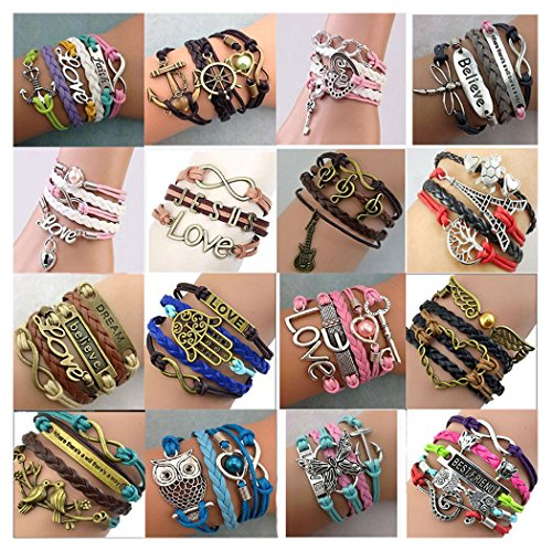 16pcs Handmade Braided Multi Layers Vintage Woven Rope Wrap Bangle Bracelets – Infinity Love Best Friend