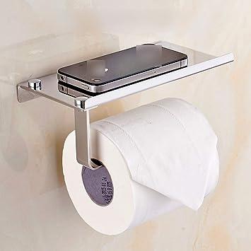 Jiuyizhe Baño Titular de teléfono móvil Soporte de Toalla de Papel de Acero Inoxidable baño Papel higiénico Caja Puede Poner ...