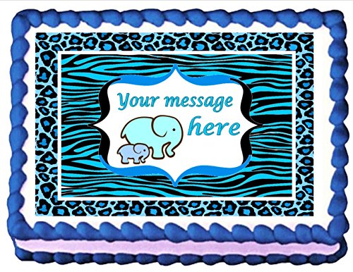 Edible Cake Topper Cupcake Topper Baby Shower Blue Elepha...