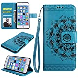 Shinyzone iPhone 7 Plus Leather Wallet Case,iPhone 8 Plus Case,Flower Painted Pattern Soft TPU Bumper Inner Shell Shockproof Cover with Card Holder & Magnetic Closure,Blue