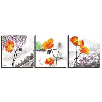 Amazon.com: woplmh Moderno -3 Piezas Pinturas sobre lienzo ...