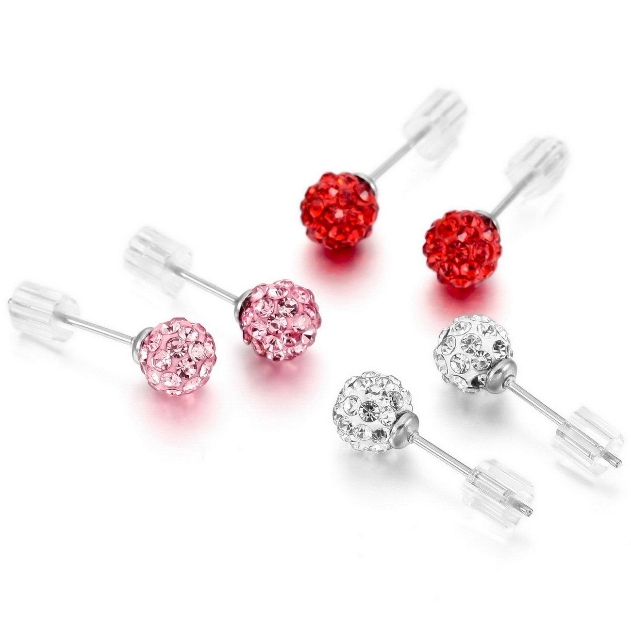 MOWOM Multicolor 6mm 8mm Stainless Steel Stud Earrings Ball Set ca5060041