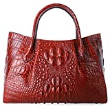 Pifuren Designer Crocodile Top Handle Handbags Womens Genuine Leather Tote Bags E75002A(Large Size, Red)