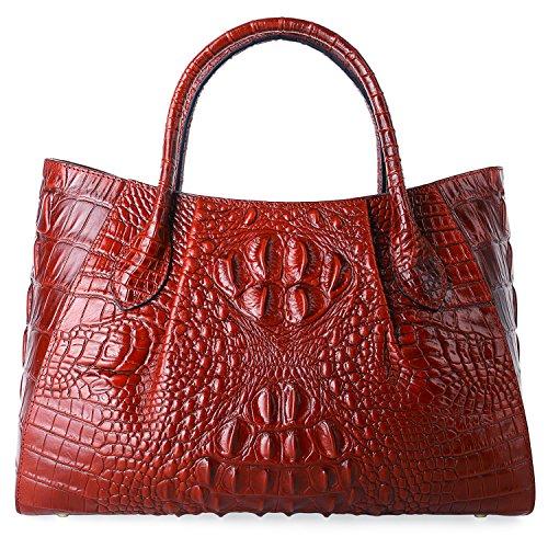 (PIFUREN Designer Crocodile Top Handle Handbags Womens Genuine Leather Tote Bags 5002A Red )