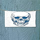 alsoeasy Lightweight Towel Skull Human Skull with Science Elements Background Medical Theme Blue White for Home, Hotel and Spa L35.4 x W11.8 inch