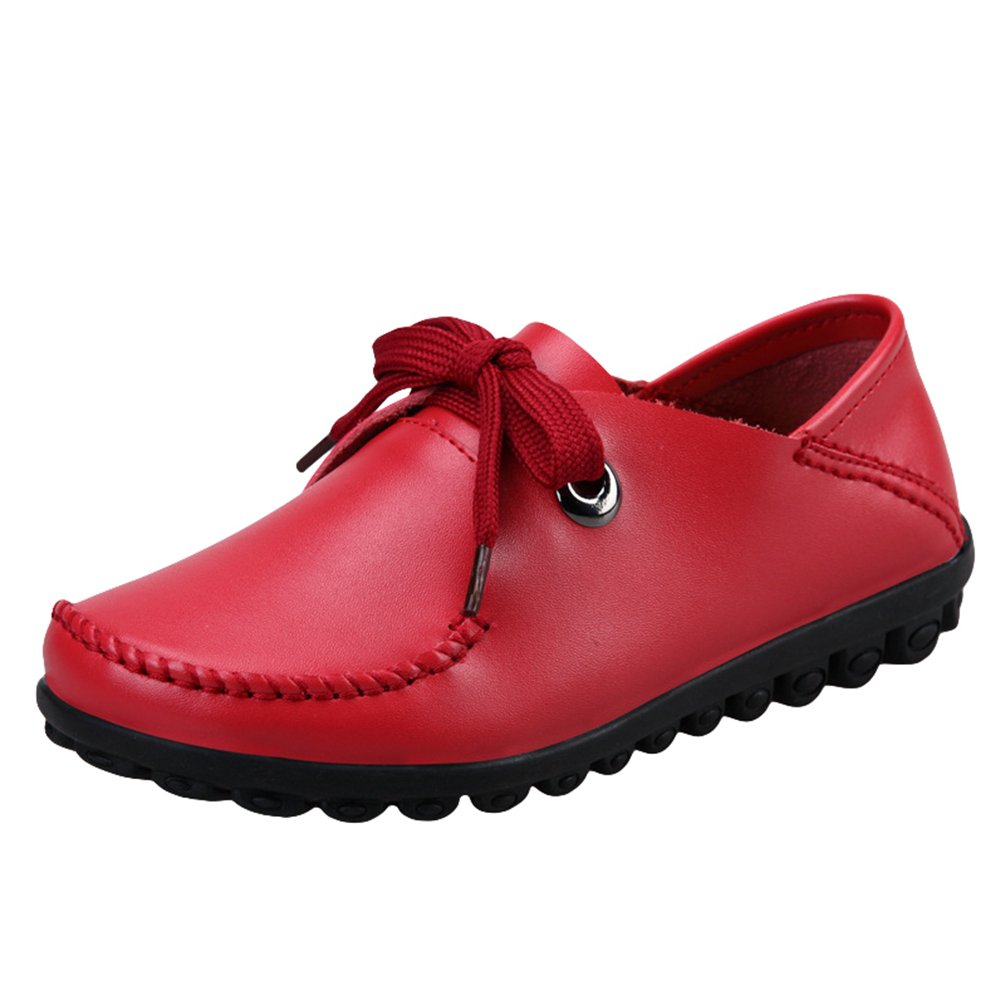 Yiiquan Femmes Loisirs Loafers Cuir Chaussures PU Lacets Flâneurs Confort Yiiquan Mocassins Lacets Chaussures Rouge 882dc3a - conorscully.space