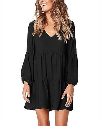 4db30349e9 Jacansi Women V Neck Puff Long Sleeve Ruffle Swing Tunic Shift Dress Black  UK 14  Amazon.co.uk  Clothing