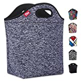 insulated bags large - Grey Lunch Bag Large Neoprene Insulated Lunch tote Reusable Lunch Box for Women Men Adult Girls Boys