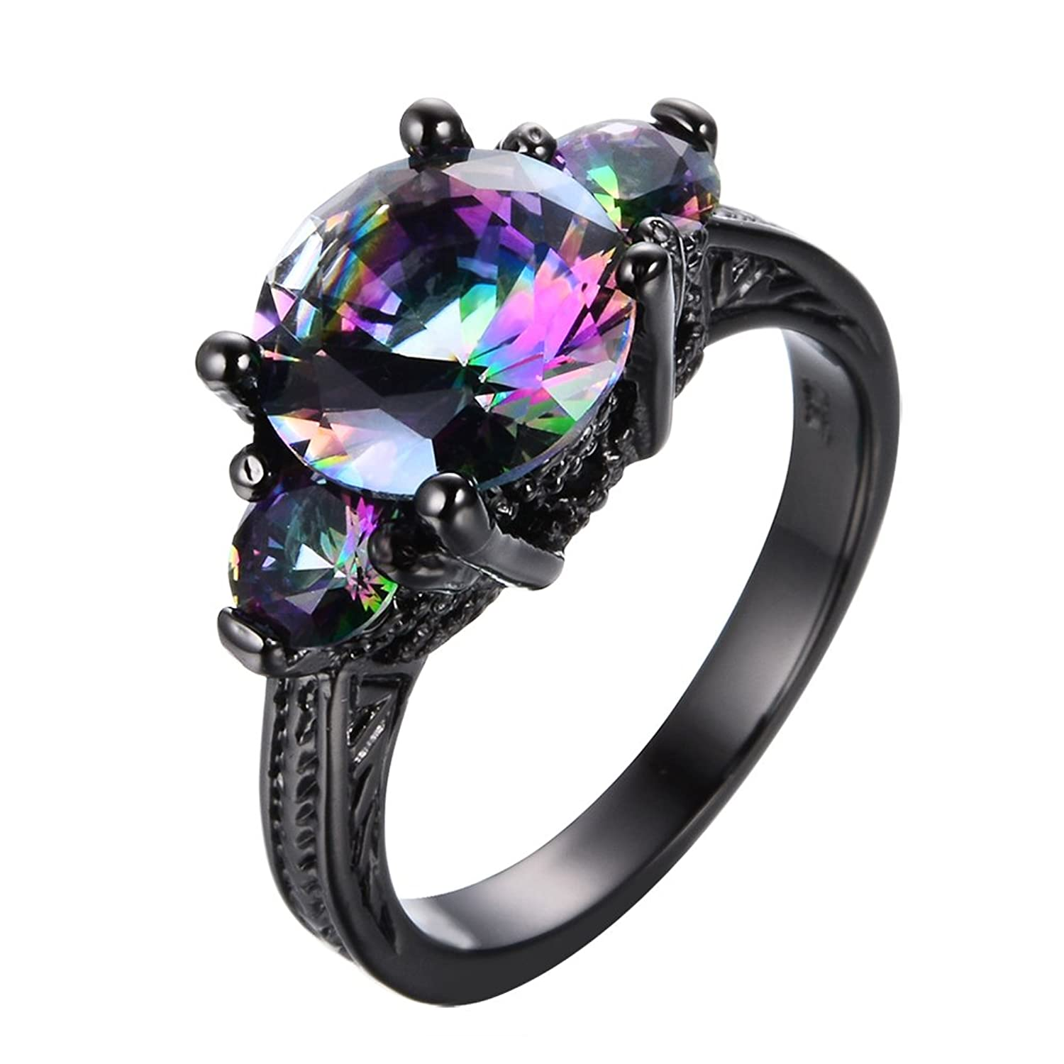 Junxin Jewelry 2016 New Mysterious Rainbow Topaz Ring,14kt Black Gold  Wedding Rings Sz 9