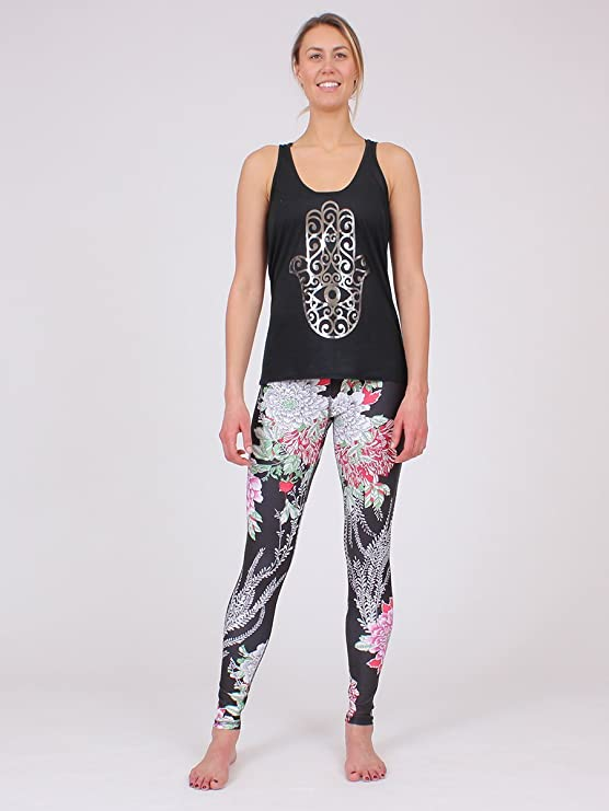 d66b53fdaa6e8e Amazon.com: Anjali The Ferocity Printed Yoga Leggings for Women ( Eco  Friendly ): Clothing