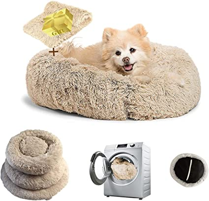 Pet Calming Bed Cat Dog Round Nest Warm Soft Plush Comfortable for Sleeping Winter