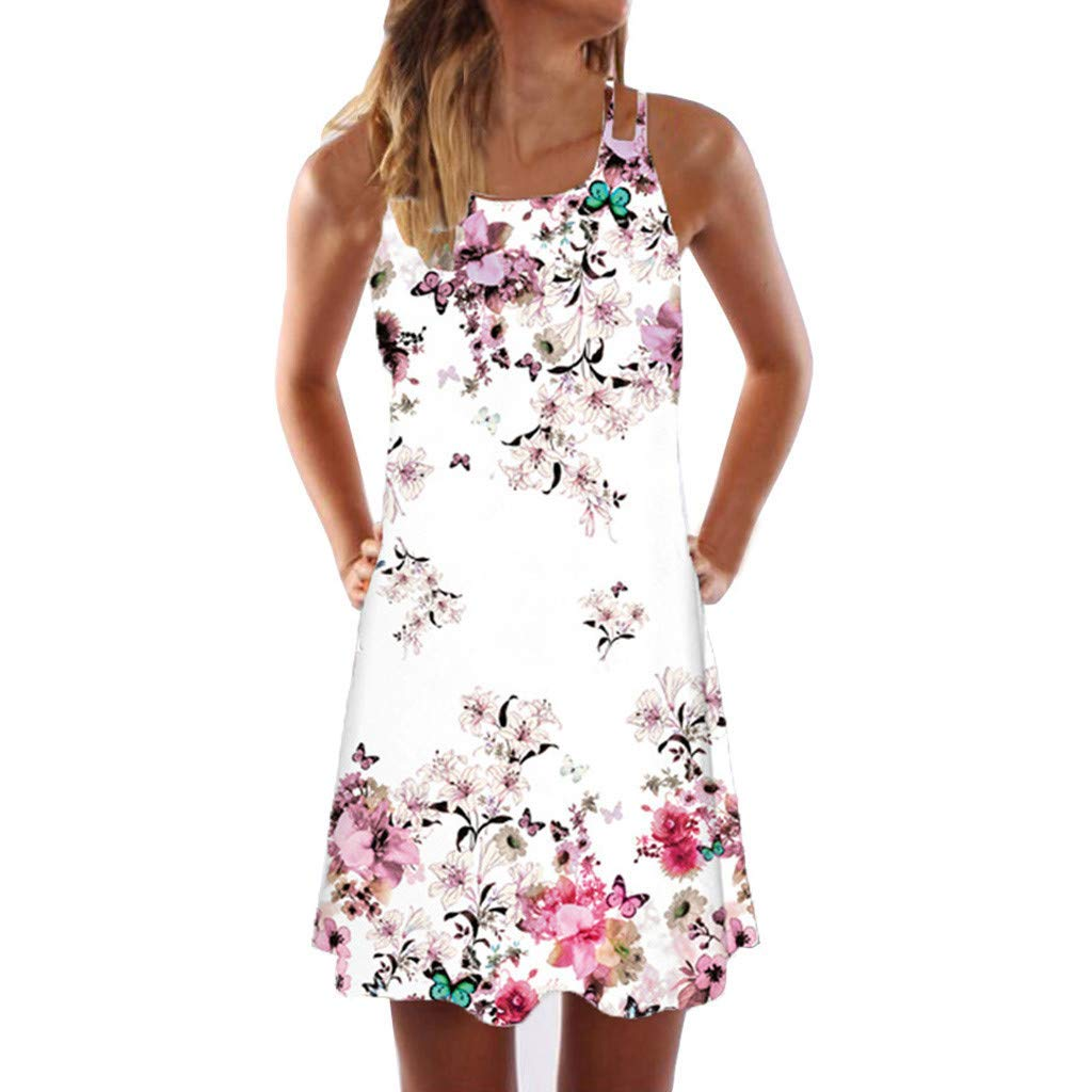 Frauen Sommerkleid, Sexy Minikleid, Frauen Sommer Casual Vintage Boho Sleeveless Beach Printed Urlaub Tank Mini Kleid Partei Weste T-Shirt Kleid