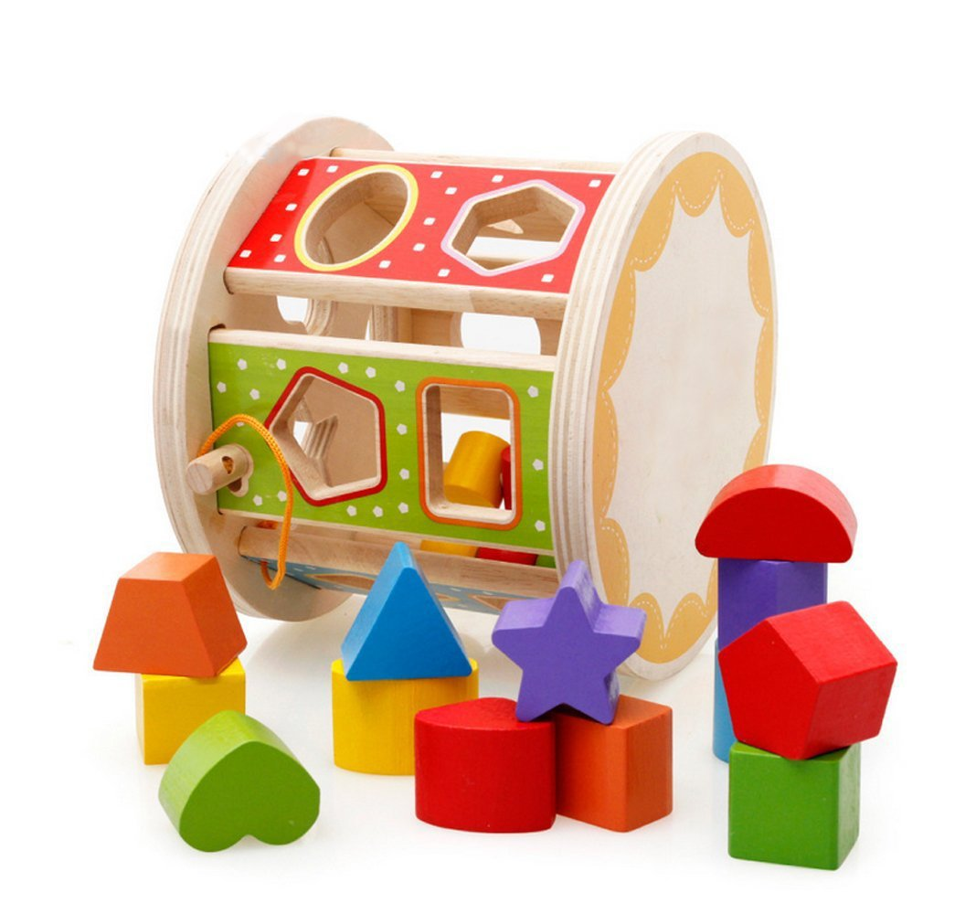 Lewo Wooden Toddlers Educational Toys Shapes Sorter Activity Centers Matching Blocks Games for Kids