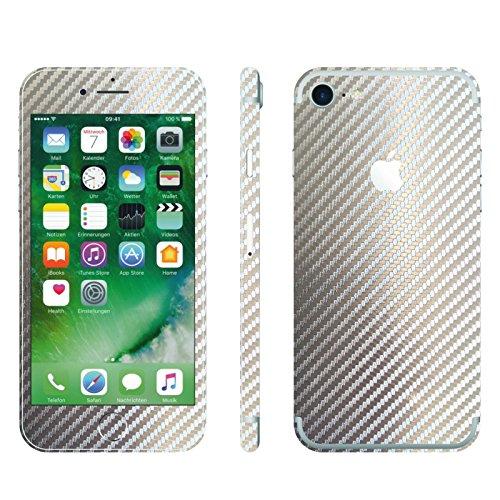 IPHONE 7 2D SILBER CHROM CARBON FOLIE SKIN ZUM AUFKLEBEN bumper case cover schutzhülle i phone