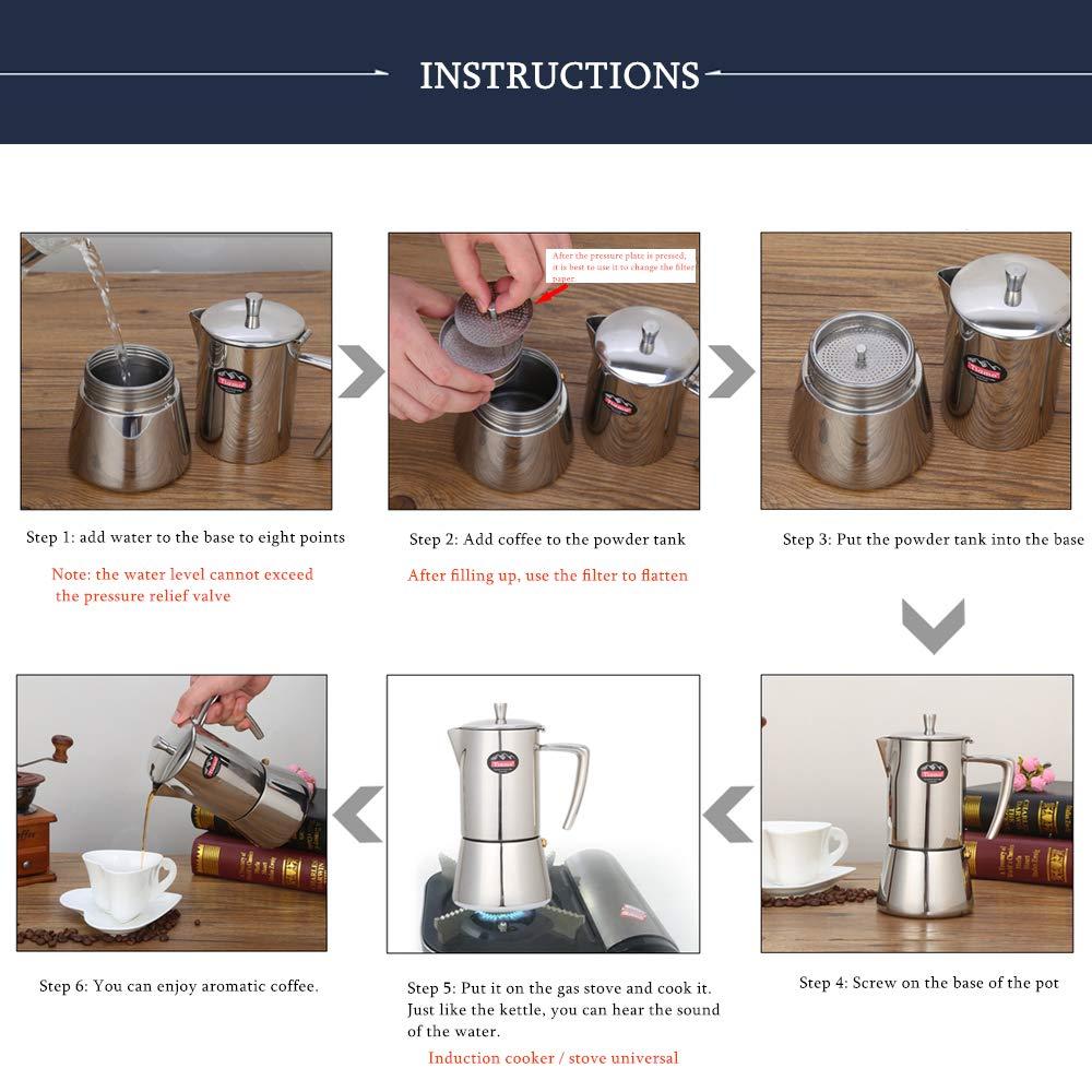 Stovetop Percolator,Italian Espresso Coffee Maker,Moka Pot,Stainless Steel Espresso Machine,For Full Bodied Coffee,Espresso Pot,Moka Pot With Silver Chrome Finish (6 Cup 300ML)