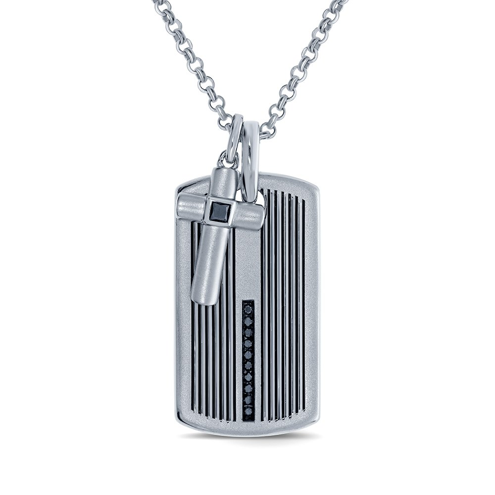 1//4ct Round Black Diamond Sterling Silver Dog tag Cross Diamond Pendant Necklace for Mens Adults Teens Boys Womens