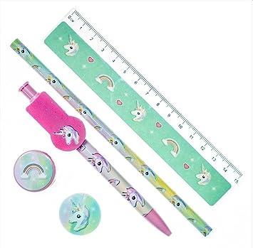 pencil ruler eraser sharpener note pad 5 Piece stationery set unicorn