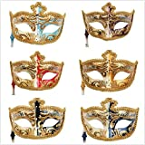 YUFENG 6Pcs/Set Vintage Venetian Masquerade Mask Costume Halloween Cosplay Mask For Party/Ball Prom/Mardi Gras/Wedding/Wall Decoration