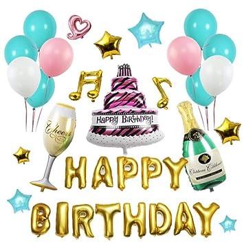 Juego de Globos de Aluminio Happy Birthday de Lbsel, arreglo ...