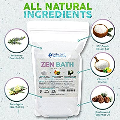 Zen Bath Salt 32oz (2-Lbs) Epsom Salt Bath Soak With Cedarwood, Rosemary,  Eucalyptus Essential Oils Plus Vitamin C Crystals - A Japanese Style