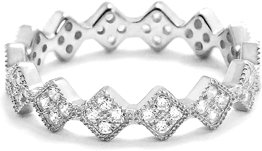 CloseoutWarehouse Classic Four Rows Eternity Cubic Zirconia Ring Sterling Silver 925