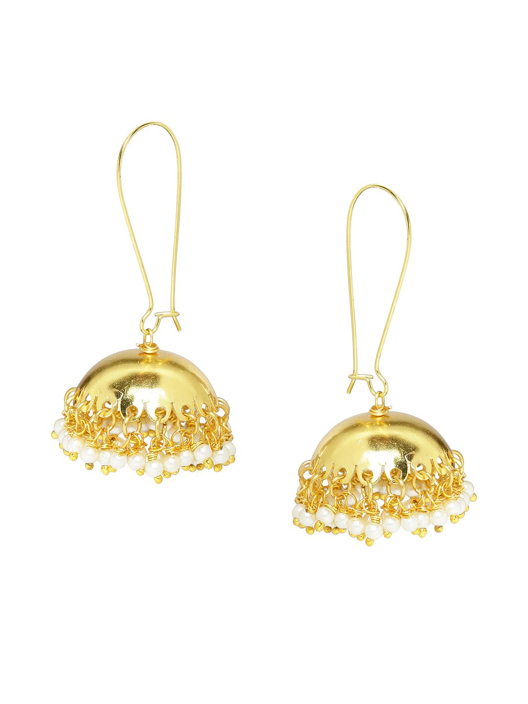 Rubans Gold Plated Traditional Indian Jewelry Bollywood Ethnic Wedding Bridal Pearls Designer Jhumka Earrings for Women