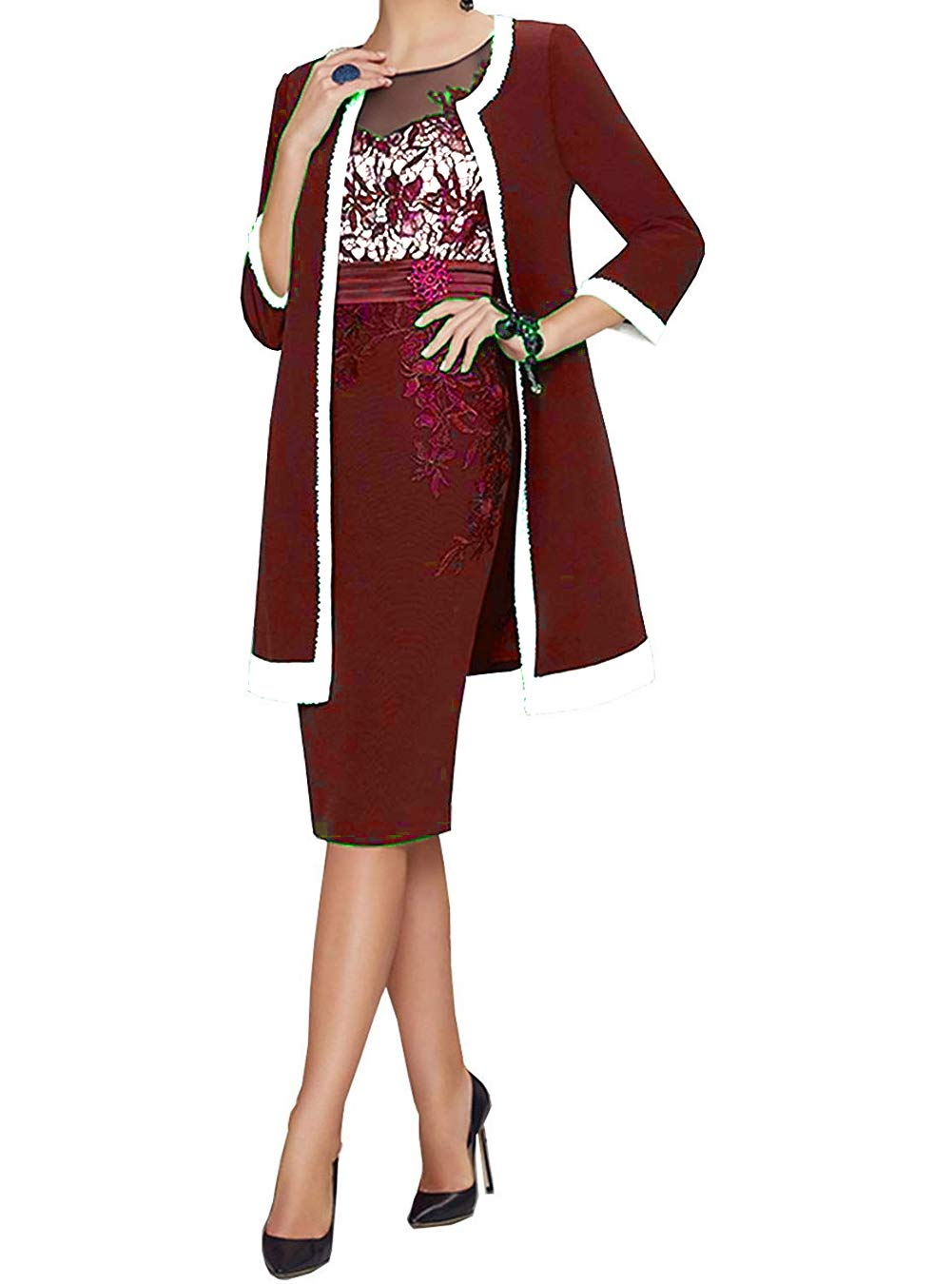 0a928d27b9 UGLY 3 Styles Knee Length Mother The Bride Dresses Two Pieces Mother Dress  Wedding UG080 A-Burgundy Custom