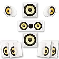 Acoustic Audio by Goldwood HD728 Flush Mount In-Wall/Ceiling Home Theater 7.2 Surround Sound 8 Inch Speakers (9 Speakers, 7.2 Channels, White)