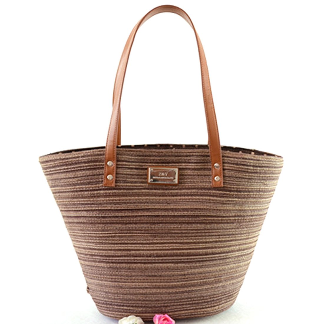 Women's Straw Large Hobo Bag Summer Beach Crochet Shoulder Tote Bags (Brown)