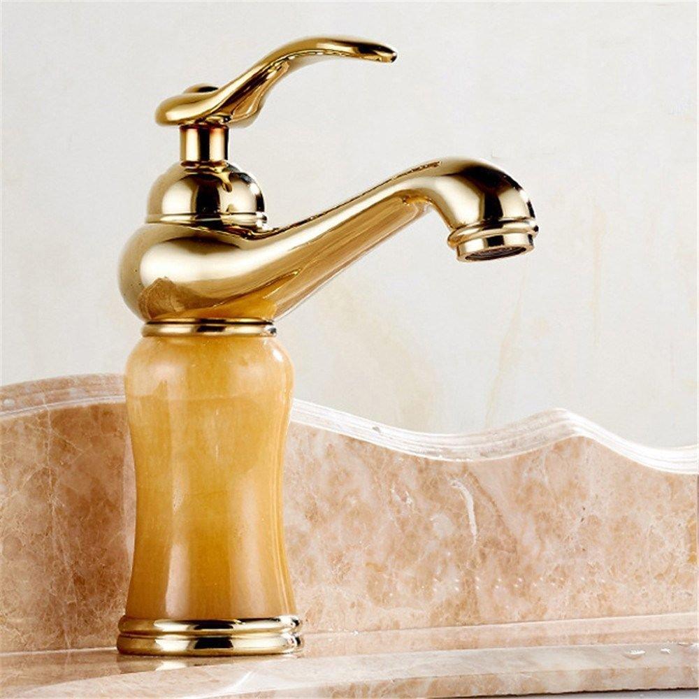 IJIAHOMIE Waschtischarmatur Badarmatur Wasserhahn Bad,Wassersparfunktion,Wasserfall Wasserhahn Kupfer Premium Gold Topaz Waschbecken