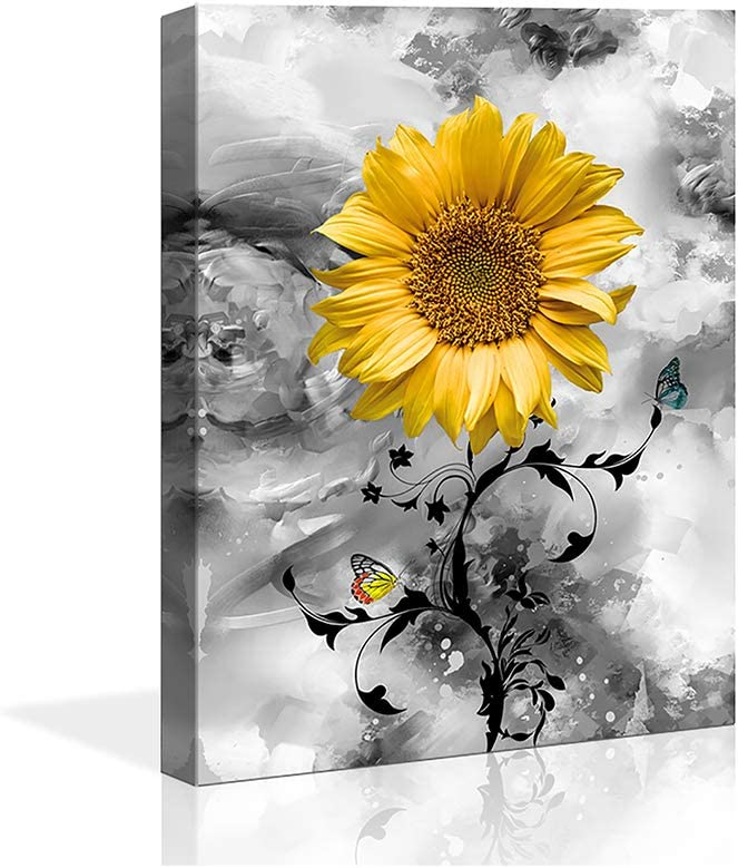 """Canvas Wall Art Sunflower Yellow Flowers Pictures 12""""x16""""Black and White Painting Prints Framed Artwork for Bedroom Kitchen Dinning Room Living Room Office Home Decor"""