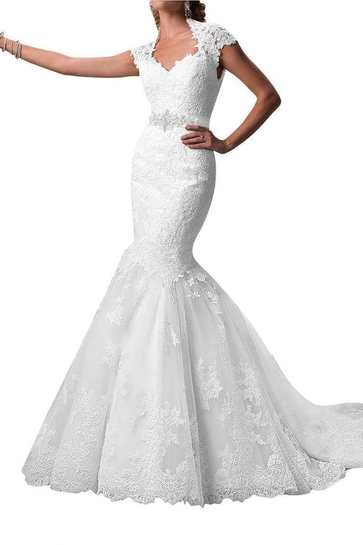 Ebelz Cap Sleeve Appliques Laces Mermaid Wedding Dress Bridal Gown