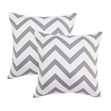 Sykting 2pcs 18  X 18  Square Chevron Stripe Throw Pillow Cover Cushion Case Home Decoration Gray