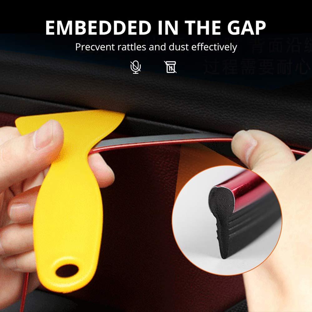 32ft, Carbon Fibre PAQI Car Filler Trim Strip Line 3D DIY Interior Mouldings Trim Decorative Strip for Door Dashboard Console