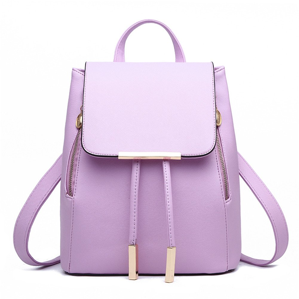 Z-joyee Casual Purse Fashion School Leather Backpack Shoulder Bag Mini Backpack for Women & Girls,Light purple