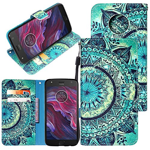 Moto X4 Case, Linkertech [Card Slots & Wrist Strap] PU Leather Wallet Flip Pouch Case with Foldable Cover and Kickstand Feature for Motorola Moto X (4th Generation) (Floral Totem)