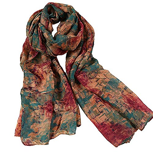 Women's Fashion Print Cotton Linen Hemp Fabric Blended Infinity Flowers Long & Soft Scarf Wrap Shawl Scarf - Linen Scarf Prints Cotton