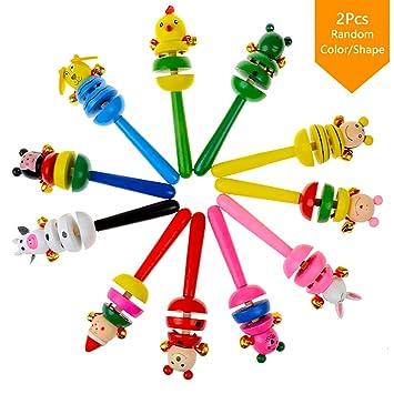 Kid Bell Toy Handbell Musical Education Instrument Cartoon Animal Wooden Rattles