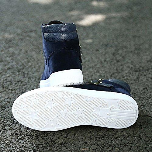 Navy BeltBuckle Lace up Uomo Sneaker Cricket Scarpe Basse Casual Scarpe Top High amp; da da wx10Rq06
