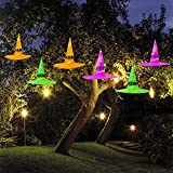 MAOYUE Halloween Decorations Witch Hat, 6Pcs Battery Powered Witches Hat String Light 33 ft. Halloween Décor for Outdoor, Garden, Indoor, Yard, Tree, Party (Purple/Orange/Green)