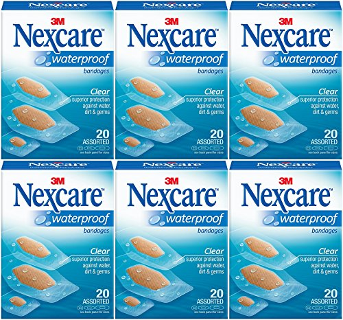 (Nexcare Waterproof Clear Bandage, Assorted Sizes, 20 Ct Packages (Pack of 6))