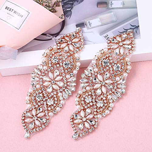 2 Pieces Rhinestone Applique with Pearls Crystal Beaded Trim- Perfect for DIY Design, Wedding Cake Decoration, Flower Girl Basket, Bag Decor, Bridal Dress Accessories (Rose Gold)