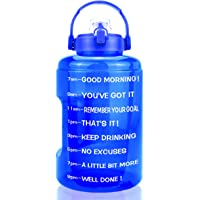 BuildLife 1 Gallon Water Bottle - 128 OZ Wide Mouth,Motivational Time Marker & Flip Lid,BPA Free Reusable Leak-Proof…
