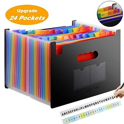 Carpeta Clasificadora Archivador acordeón 24 Bolsillos de gran Capacidad soporte Extensible portátil acordeón, Multi-