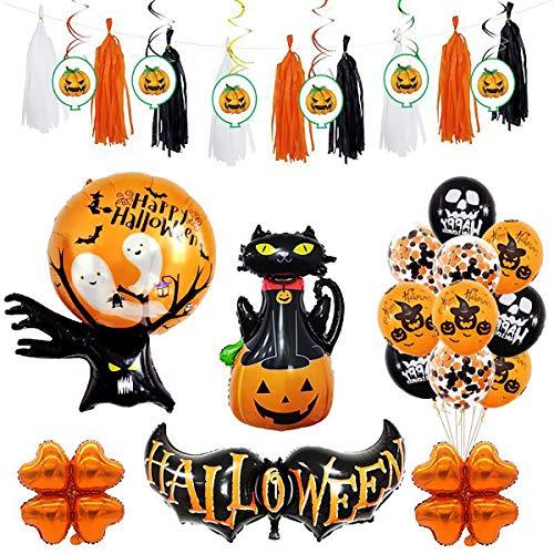 25 Pcs Halloween Party Balloon Decorations Set,Fringe Tassel Garland Decor with Foil Swirl Balls Colored Streamers Pumpkin Cat Ghost Skull Aluminum (Colored Aluminum Foil Set)