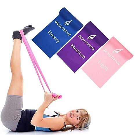 Beautifive Gomas Elasticas Fitness, Juego de 3 Mini Bandas Elasticas de Resistencia, Cintas Elasticas Musculacion para Fisioterapia, Rehabilitación, ...