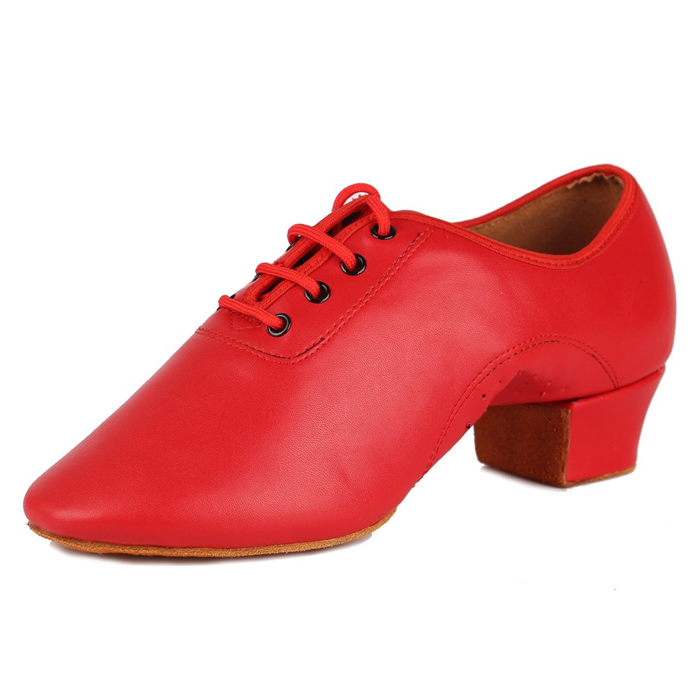 HROYL Little Boy/Big Kids/Men Dance Shoes Leather lace-up Ballroom Shoes for Latin Tango Salsa Dance Performence Shoes Z-238