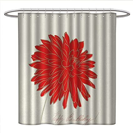 Anniutwo Dahlia Shower Curtains Mildew Resistant Sketching Of A Colossal Blossom Retro Style In Blood