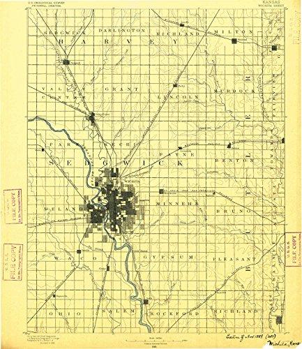 (YellowMaps Wichita KS topo map, 1:125000 Scale, 30 X 30 Minute, Historical, 1889, 18.83 x 16.32 in - Tyvek)